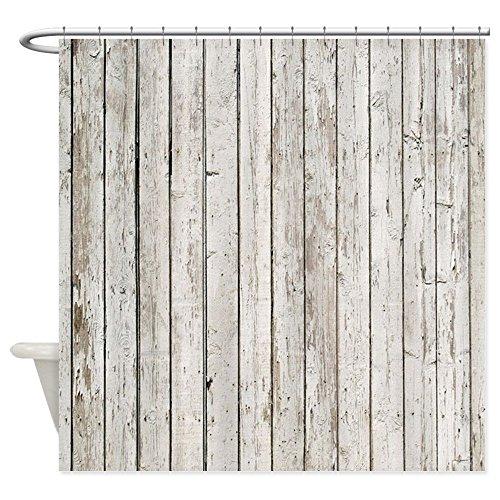 (CafePress Shabby Chic White Barn Wood Decorative Fabric Shower Curtain (69