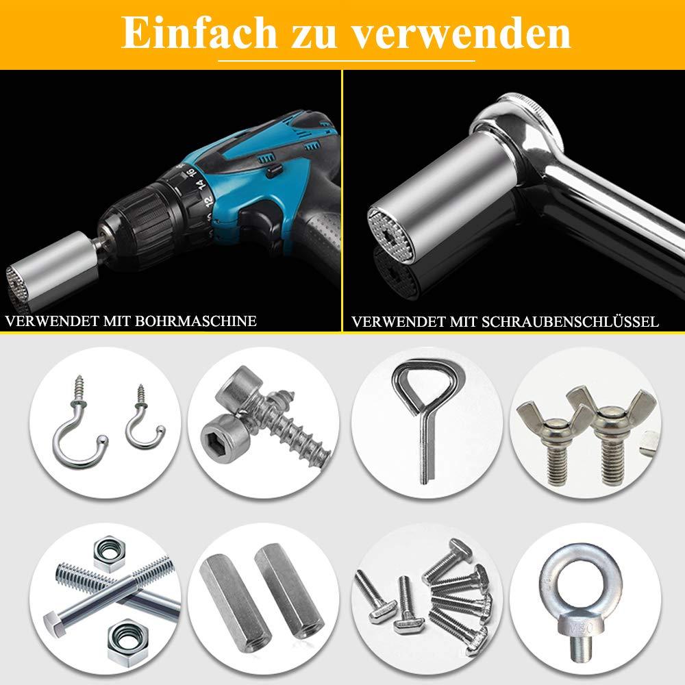 Steckschlüssel Xpassion Universalschlüssel 7-19mm Universal Nuss Universal-Steckschlüssel Multi Funktions Handwerkzeuge Reparatur Werkzeuge Set(7-19mm mit Adapter)