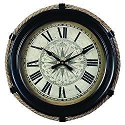 Derby Compass Decorative Wall Clock, Vintage Unique Wall Clock for Outdoor and Home Decor, Black - Small