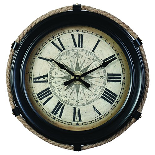 Derby Compass Decorative Wall Clock, Vintage Unique Wall Clock for Outdoor and Home Decor, Black - Small - Compass Wall Clock