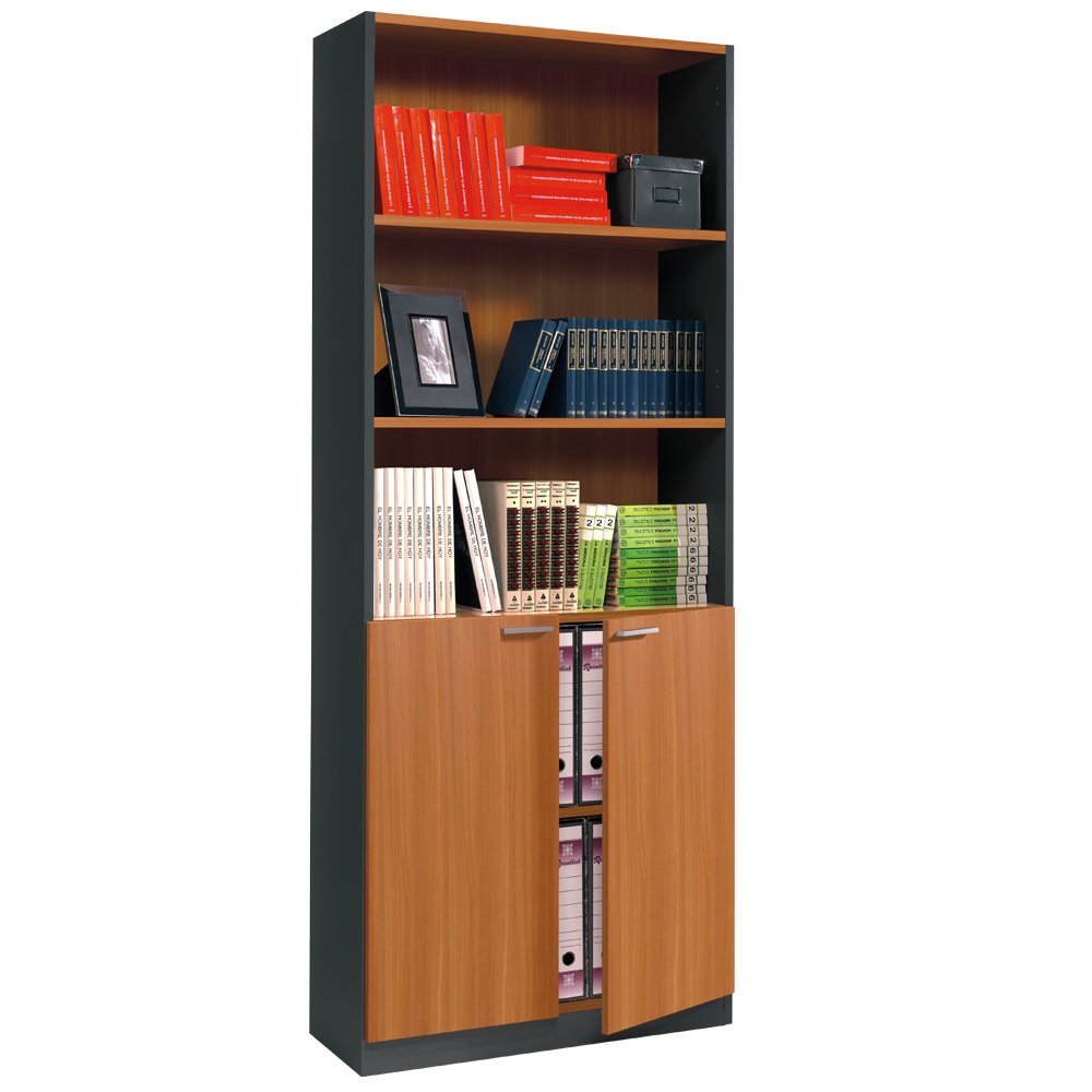 Direct Furniture Primo - ESTIL.estantería con Puertas, Color castaño y Gris