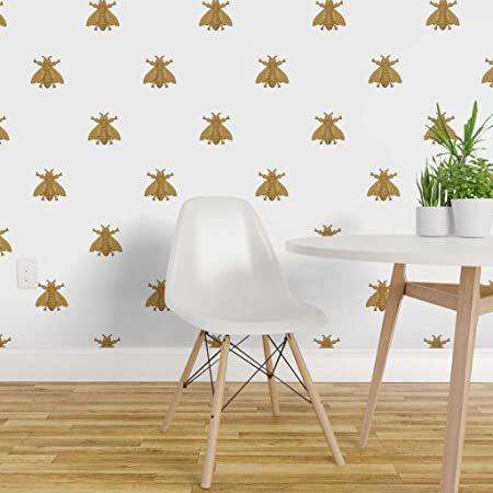 Peel-and-Stick Removable Wallpaper Bee Bees Yellow Gold Lace Doily Beehive