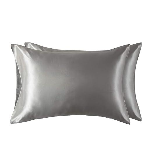 Bedsure Funda Almohada 50x75cm de Satén Pelo Rizado Gris 2 Piezas - Muy Liso Suave de 100% Microfibra sin Cremallera