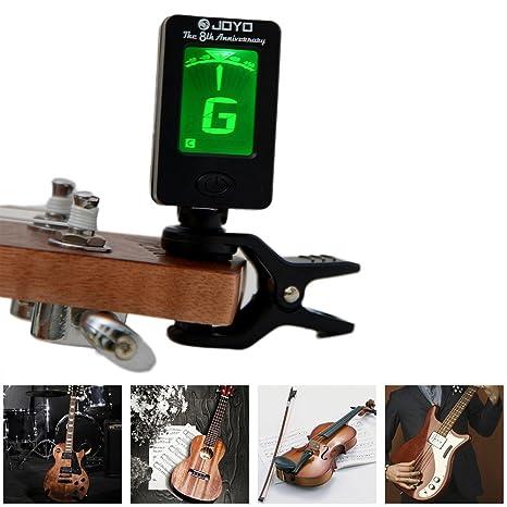 Guitar Tuner Set: clip-on afinador cromático con rotación doble color protector de pantalla LED + ...