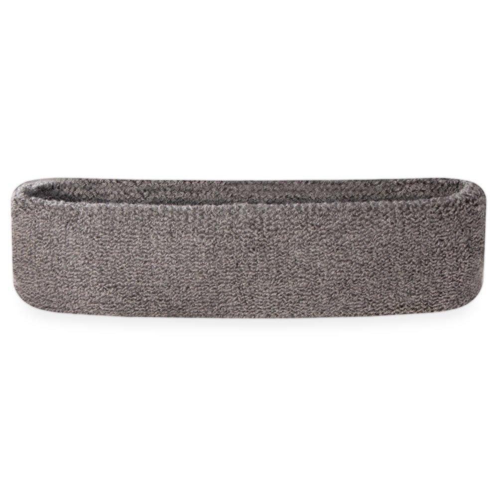 Suddora Sweatband/Headband - Terry Cloth Athletic Basketball Head Sweat Bands (Grey)