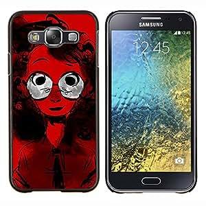 LECELL--Funda protectora / Cubierta / Piel For Samsung Galaxy E5 E500 -- Gafas de pelo rizado Retrato Rojo Estilo Chica Geek --