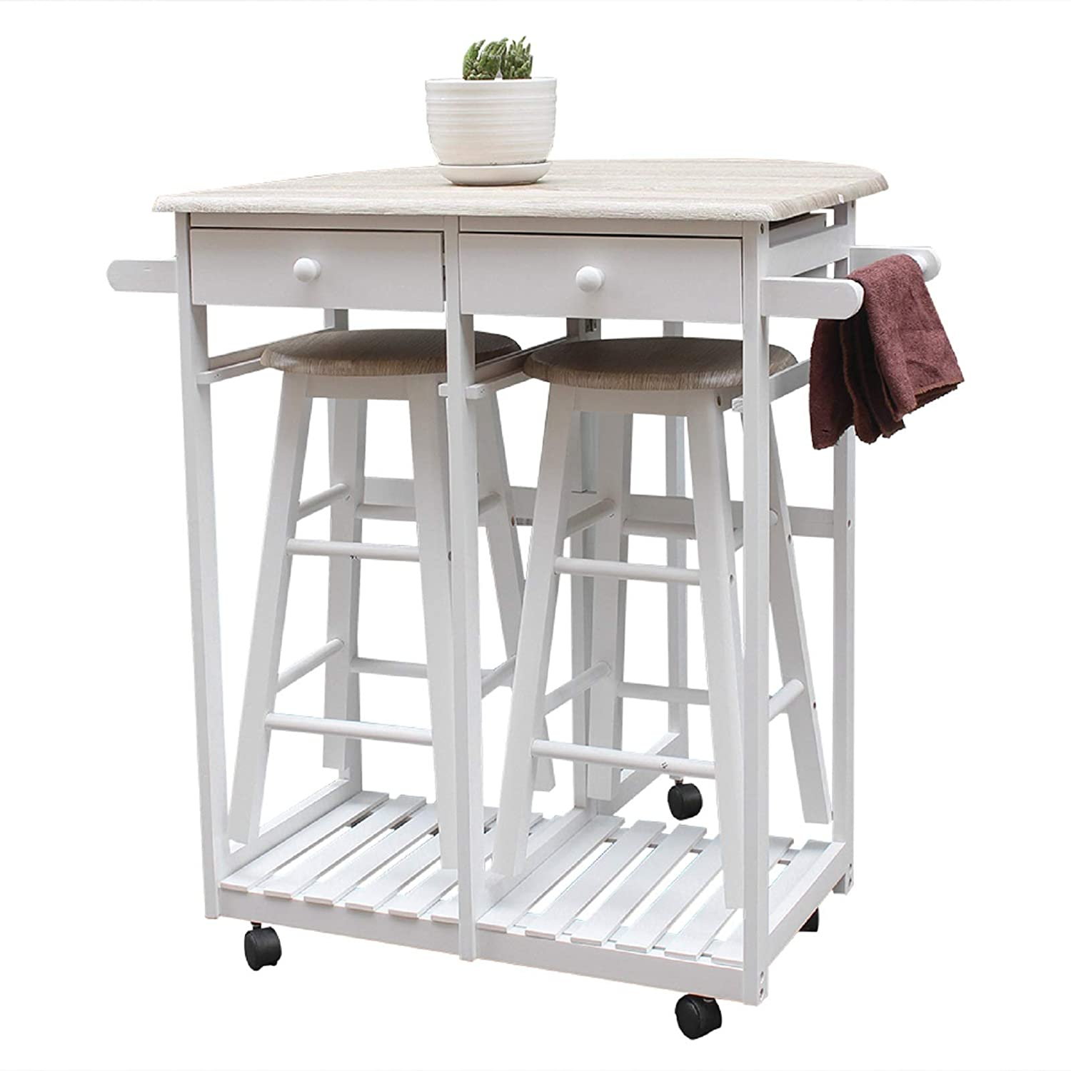 3 PCS Dining Table Set 1 Table and 2 Chairs Stools Home Restaurant Breakfast Bistro Pub Kitchen Folding Rolling Drop Leaf Island Trolley Kitchen Cart 2 Towel Hander Dining Room Home Kitchen Furniture