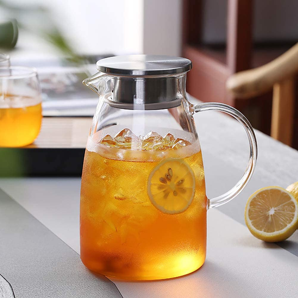 0.5 Gallon/68 oz Glass Carafes Pitcher with Lid BPA-FREE Mix Drinks Water Jug for Hot/Cold Lemonade Juice Beverage Jar Ice Tea Kettle (68oz Stainless Steel Lid)