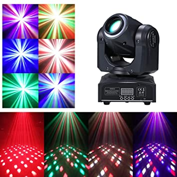 Lixada 60W RGBW LED Giratorio Luz de Etapa con 4 Patrones de ...