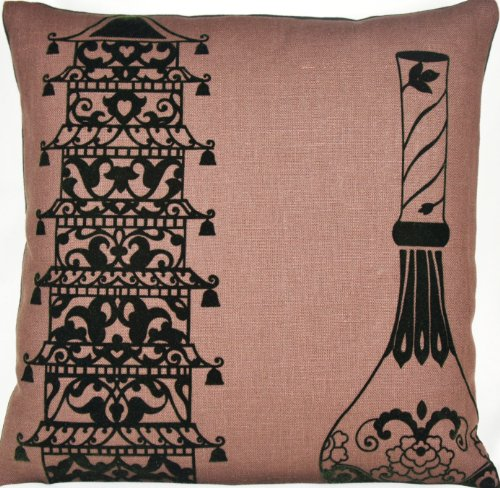 Brown Asian Design Accent Pillow Case Ming Vase Cushion Cover Lorca Collection