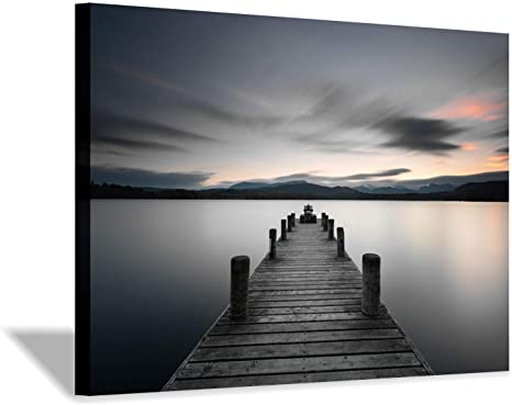 Amazon Com Pier Picture Canvas Wall Art Vintage Lake Dock Artwork Painting For Bedroom 36 X 24 X 1 Panel Posters Prints