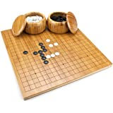 Brybelly Go Set with Reversible Bamboo Go Board (19x19 & 13x13), Bowls, Bakelite Stones, 2-Player - Classic Chinese Strategy Board Game