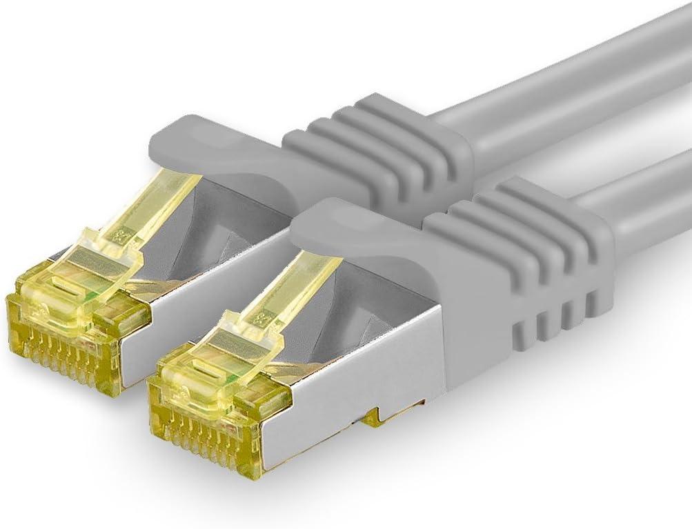 1aTTack.de Cat.7パッチケーブルセットS / FTP(PiMF)イーサネットLANネットワークケーブル10ギガビット/秒高速600 MHz、ロック防止ハロゲンフリー(LSZH)グレー - 1個7 5m
