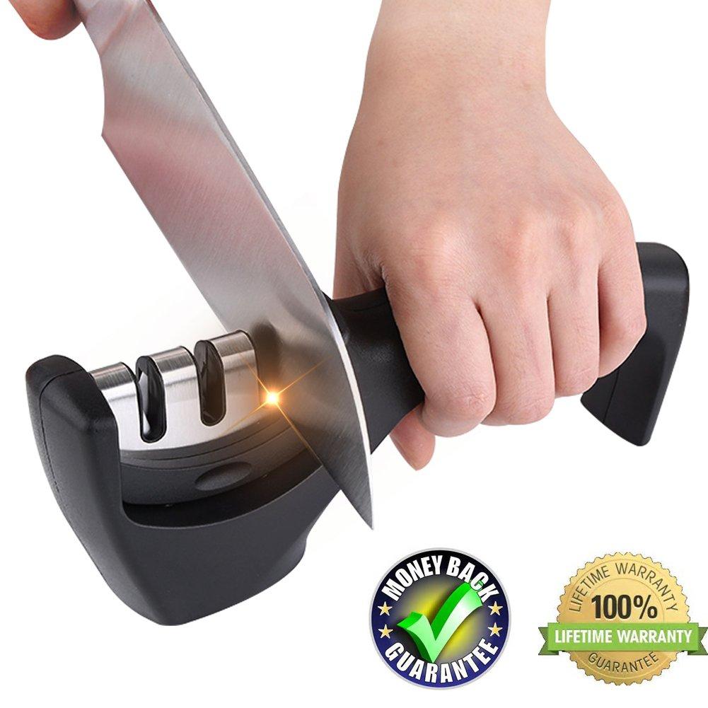 Kitchen knife sharpner set steel diamond,ceramic sharpeners kit tool for handheld portable pocket knifes, professional kitchen sharpening system work folding