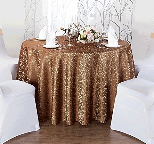 [Eforcurtain 108 Inch Round Classic Restaurant Tablecloth Jacquard Floral Overlay Woven Fabric Table Cover Banquet, Coffee] (Jacquard Tablecloth Fabric)