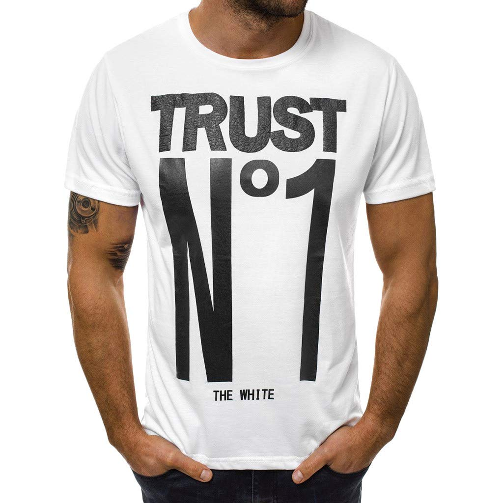 aiNMkm Round Neck Tank Tops,Fashion Men's Casual Slim Letter Printed Short Sleeve T Shirt Top Blouse,White,3XL