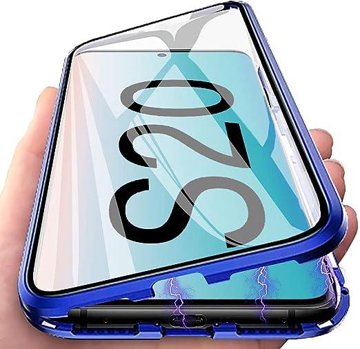Funda para Samsung Galaxy S20 5G Adsorci/ón Magn/ética Carcasa,Cubierta de Trasera Cristal Templado Transparente,Cubierta Protectora de c/ámara+Estuche de Anti Choque Marco Metal Flip Cover Case-Azul