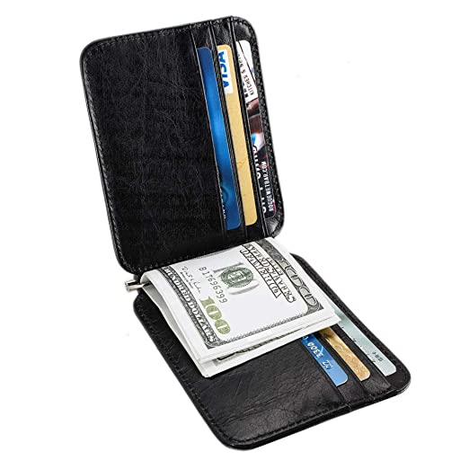 e3c1cccaf06b Money Clip Wallet Men's Slim Front Pocket Wallet with Money Clip Genuine  Leather Black Wallet with