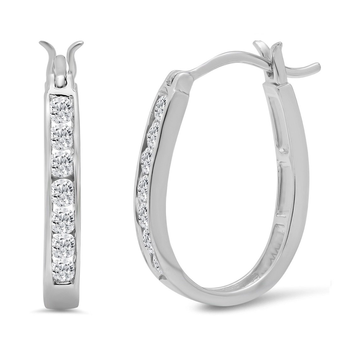 AGS Certified 1/2ct TW Diamond Hoop Earrings in 10K White Gold by Amanda Rose Collection