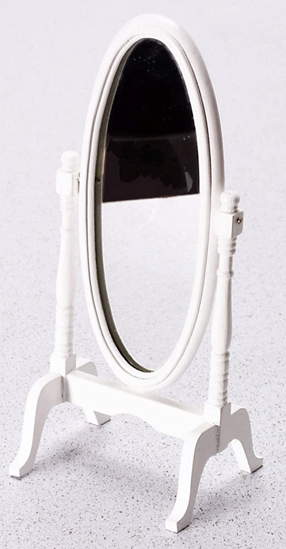 Dollhouse Miniature 1:12 Scale White Cheval Mirror #T5173