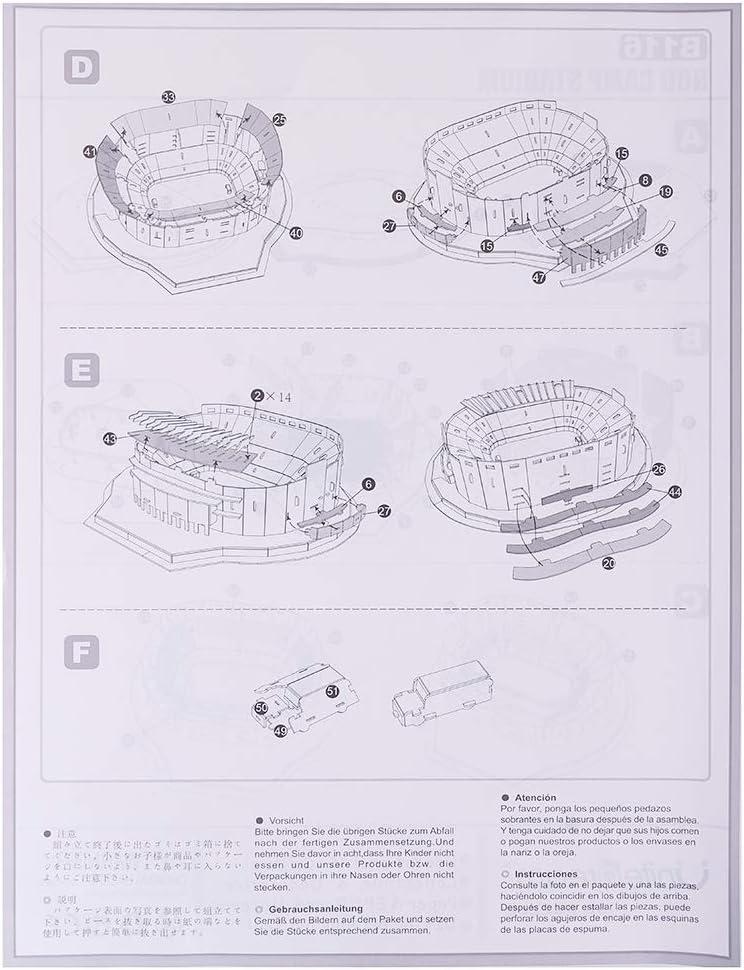 Estadio Santiago Bernab/éu 160 Piezas Espa/ña GHmarine Rompecabezas Tridimensional 3D Famoso mundialmente Campo de f/útbol para ni/ños Chicos DIY Hechizo Insertar Juguete
