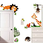 ElecMotive Jungle Wild Animal Vinyl Wall Sticker Decals for Kids Baby Bedroom (Lion Theme)