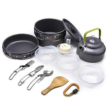 KOCHSET 9-TLG Teekessel Teller Pfanne Topf  Camping Set Aluminium Kochgeschirr Camping-Küchenbedarf