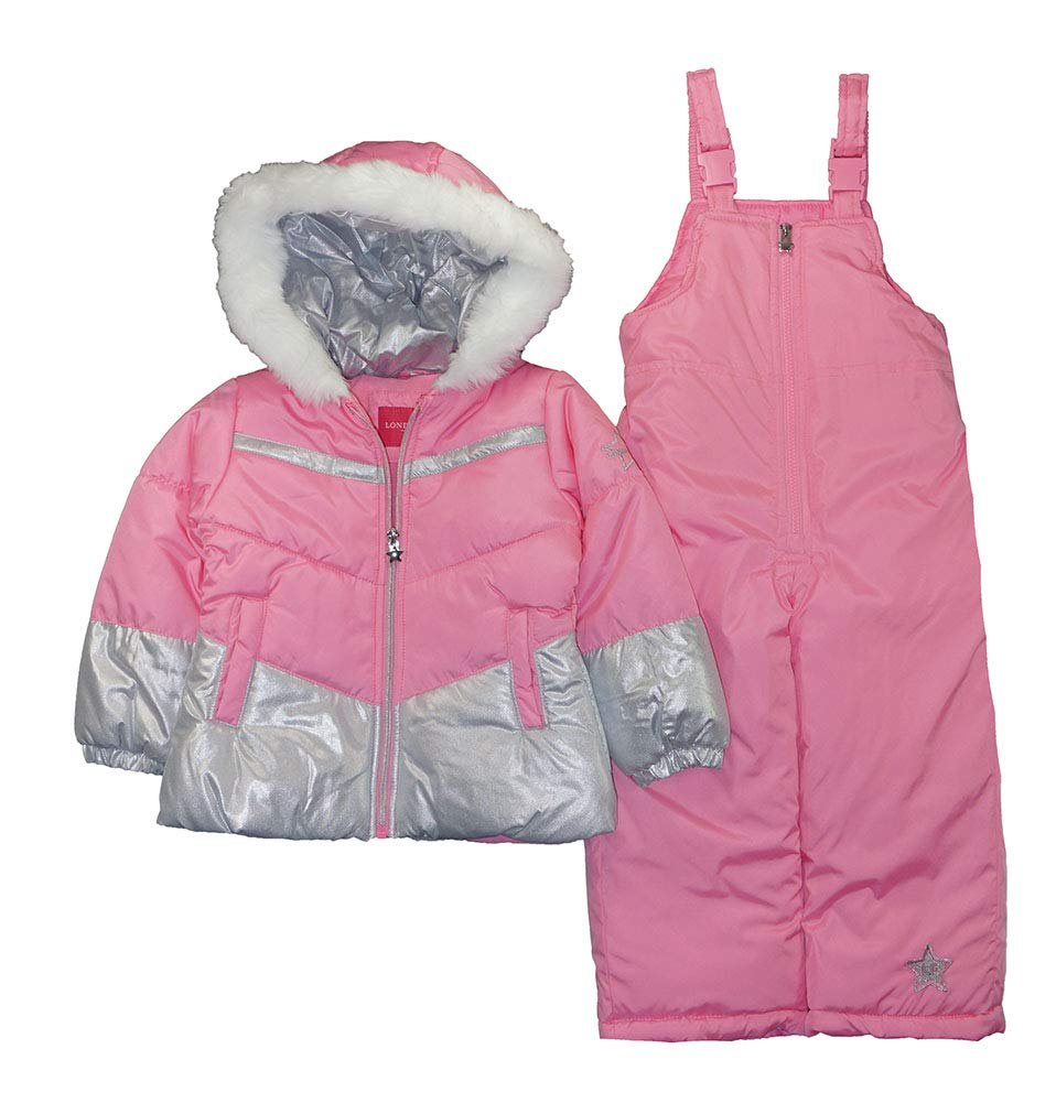 London Fog Girls' Toddler Snowsuit with Snowbib and Puffer Jacket, Unicorn Rose Gold Foil, 3T