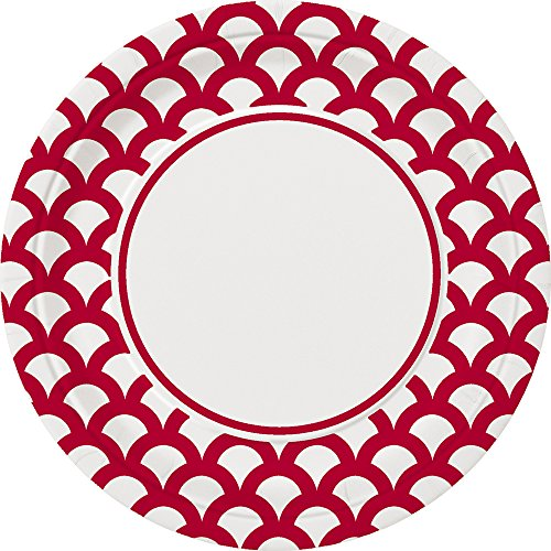 Red & White Print Scallop Paper Cake Plates, 30ct - Paper Cake Plates