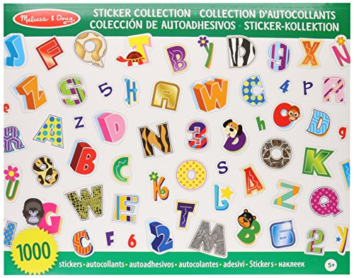 Melissa & Doug Sticker Collection - Alphabet and Numbers, 1000 Letter and Number (Christmas Projects For Toddlers)