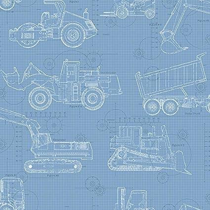 York Wallcoverings KS2352 Cool Kids Construction Blueprint Wallpaper, Sky  Blue/Medium Blue/Dark