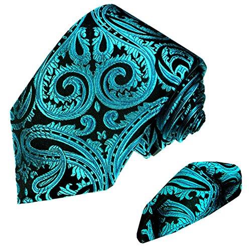 LORENZO-CANA-100-Pure-Silk-Woven-Tie-Hanky-Set-Black-Turquoise-Paisley-8444201