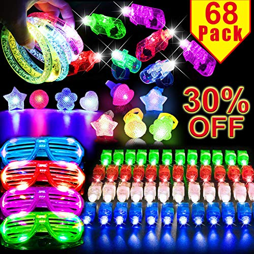 68 Pcs Glow in the Dark Party Supplies Light Up Toys for Outdoors Birthday Party Favors for Kids Adults Party Pack with 50 Finger Lights Elastic 10 Bumpy Ring 4 Flashing Glasses 4 Glowing Bracelets