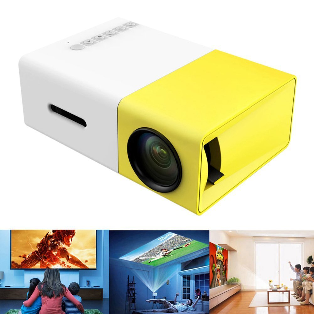 Deeplee A1 LED LCD Mini Portable LED Projector with  USB/SD/AV/HDMI Input - International Version White/yellow