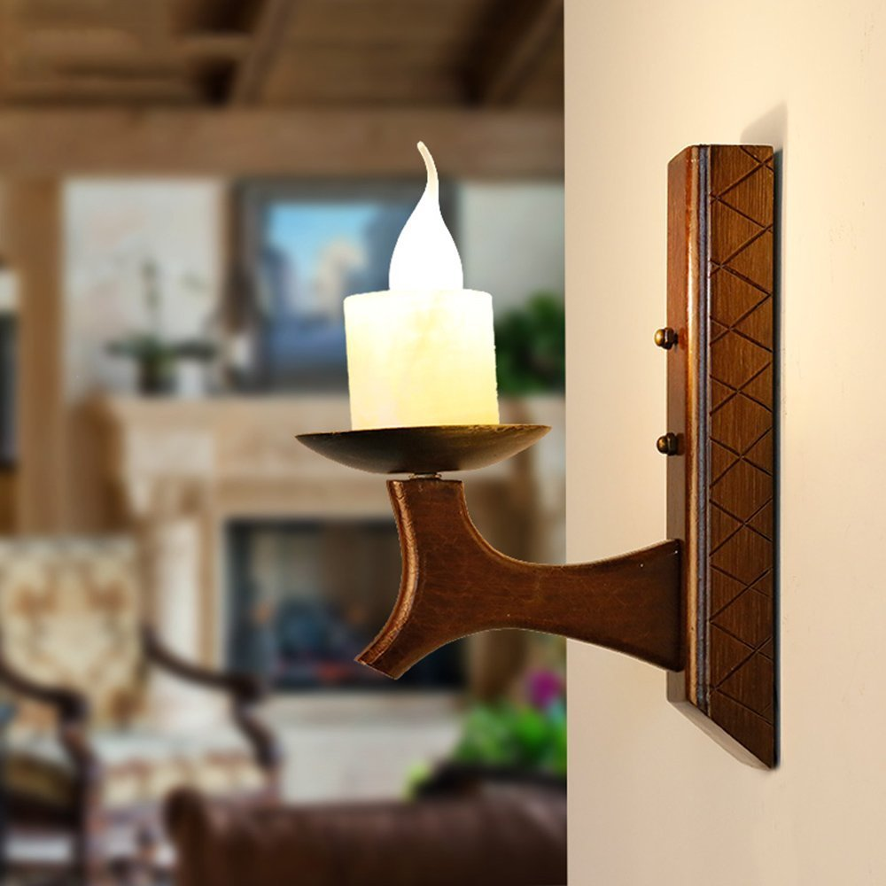 HOMEE Wall lamp- american country candle solid wood creative wall lamp mediterranean restaurant imitation marble wall lamp --wall lighting decorations