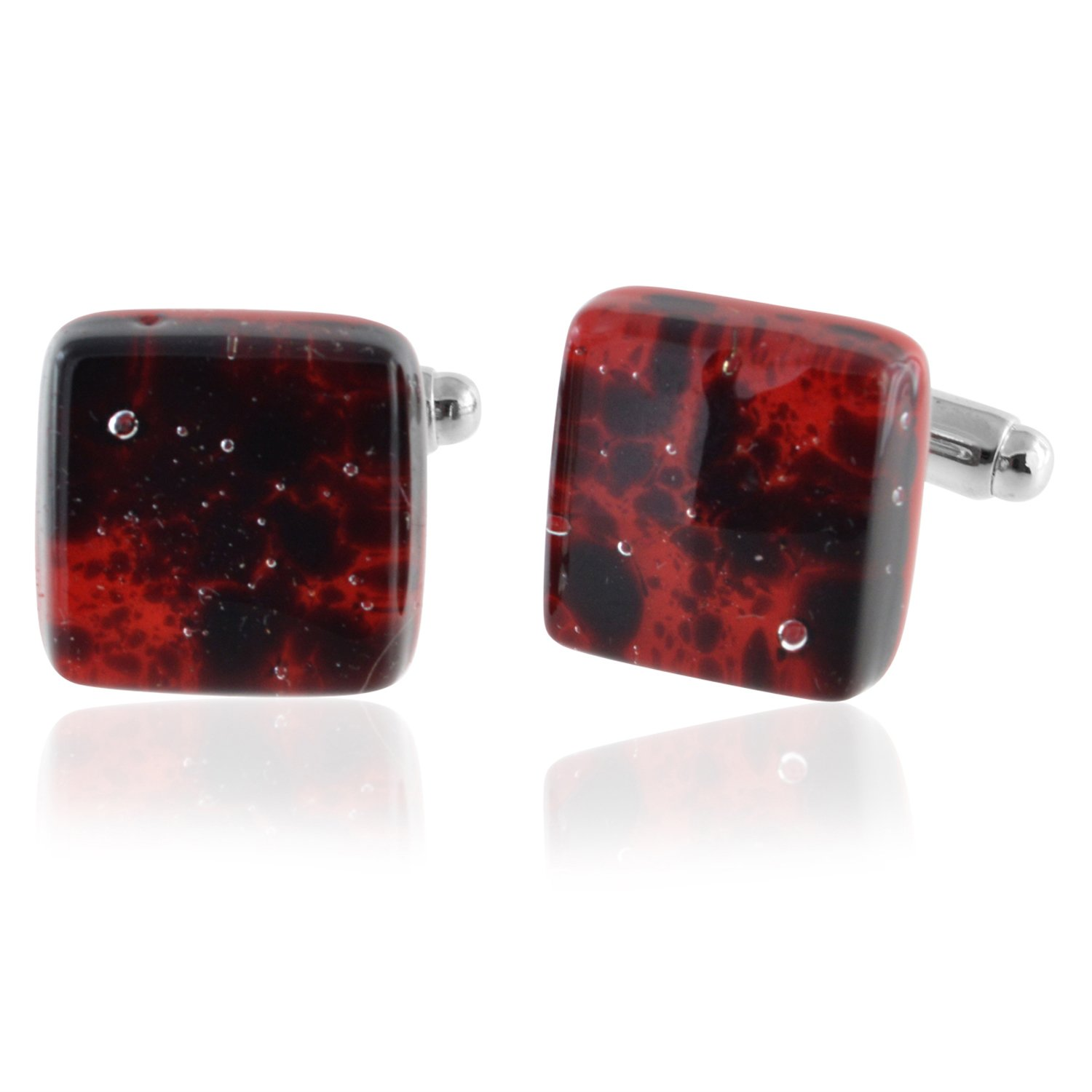 XMI Platinum Fire Red Murano Glass Cufflinks by XMI Platinum