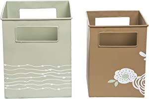 Foreside Home and Garden Foreside Home & Garden Autumn Floral Tins, Set of 2 Decroative Metal Storage Bins, Green, Brown