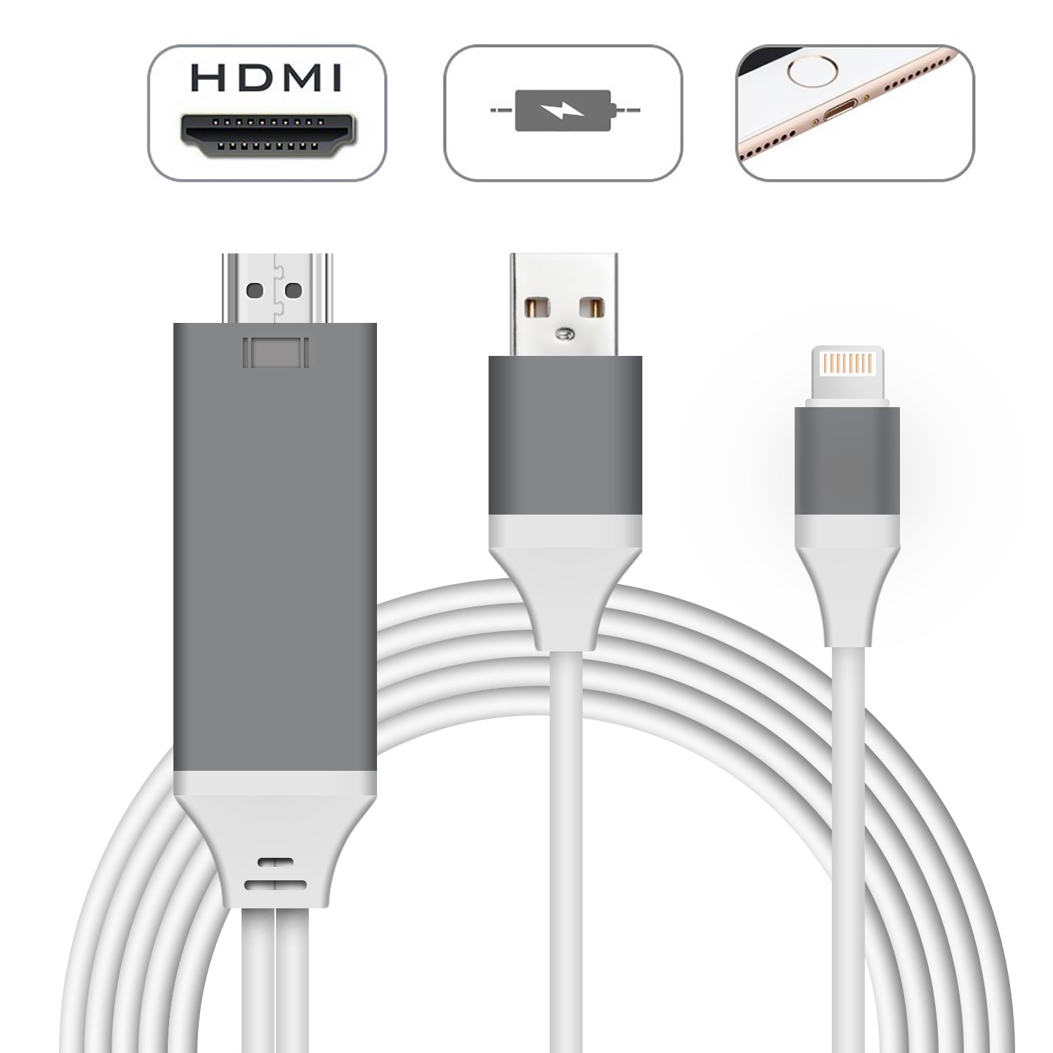 Compatible with iPad iPhone to HDMI Adapter Cable, Digital AV Adapter, Anlyso 6.6ft HDMI Adapter Cord Support 1080P HDTV Compatible with iPhone X 8 7 6 Plus 5s 5, iPad, iPod to TV Projector Monitor