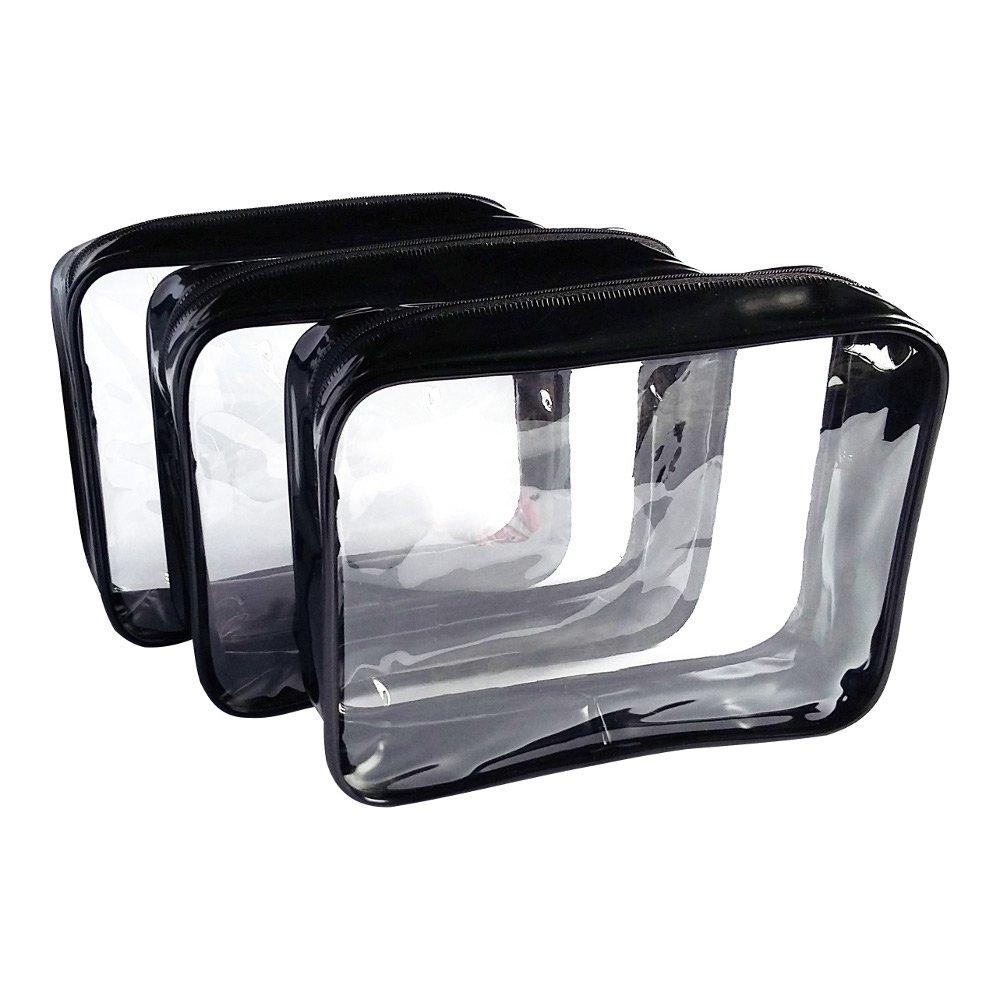 3 Pack Clear Cosmetic Bag Medium Size Travel Case Waterproof Zipper Toiletry Organizer - Black Koodoot