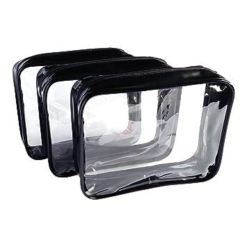 Amazon.com: 3 Bolsas para cosméticos de vinilo ...