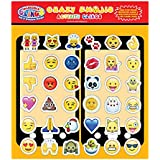 Crazy Emojis (36 pc) Incredible Gel and Window Clings - Reusable Puffy Stickers Kids and Adults for Home, Planes, School, Lockers, Windows and More - Stick to Most Surfaces, Use Again and Again