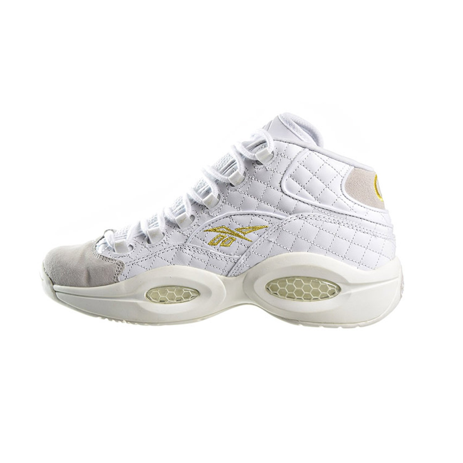 Mens Reebok Question Mid Quilted White Party Iverson White Chalk Gold /<AR1710/>