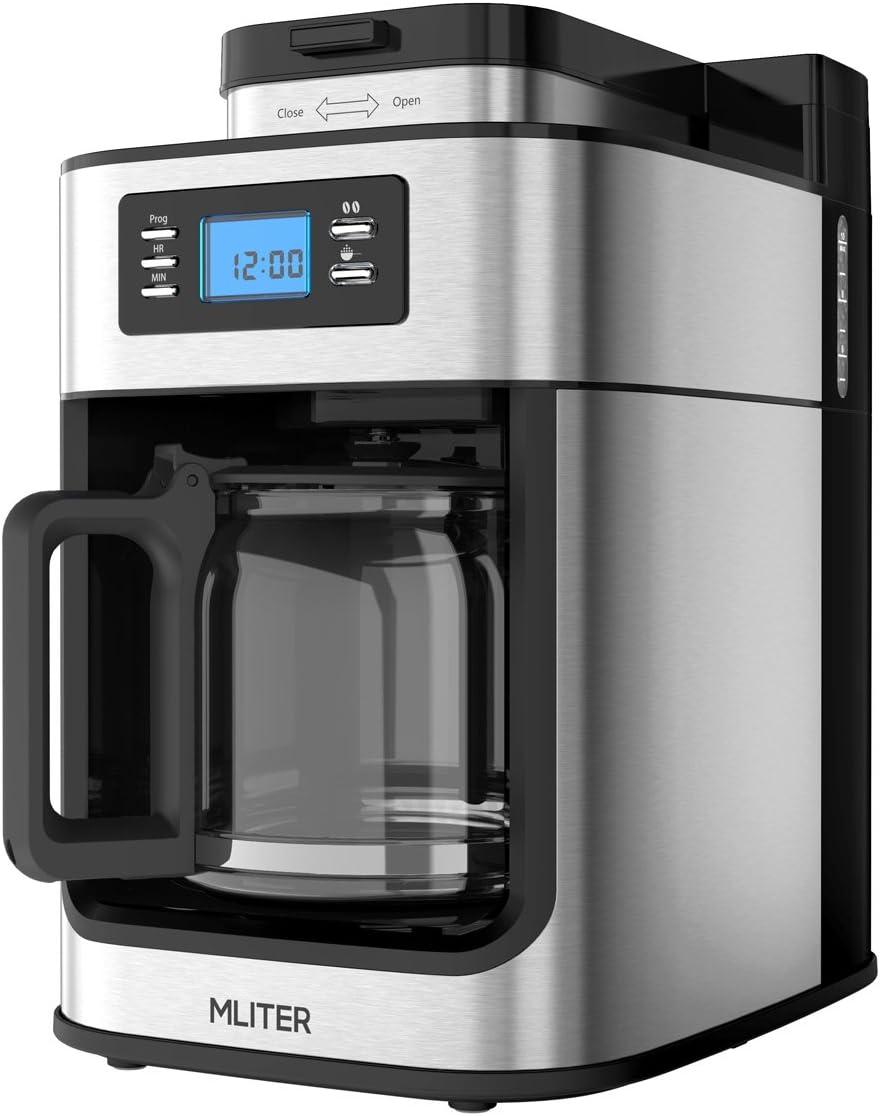Cafetera Automática MLITER, Cafetera de Filtro Programable 10 Tazas, 1.25L, Máquina de Café con Molinillo, Coffee Maker Grind & Brew con Apagado Automático y Temporizador, Color Negro y Plata: Amazon.es: Hogar