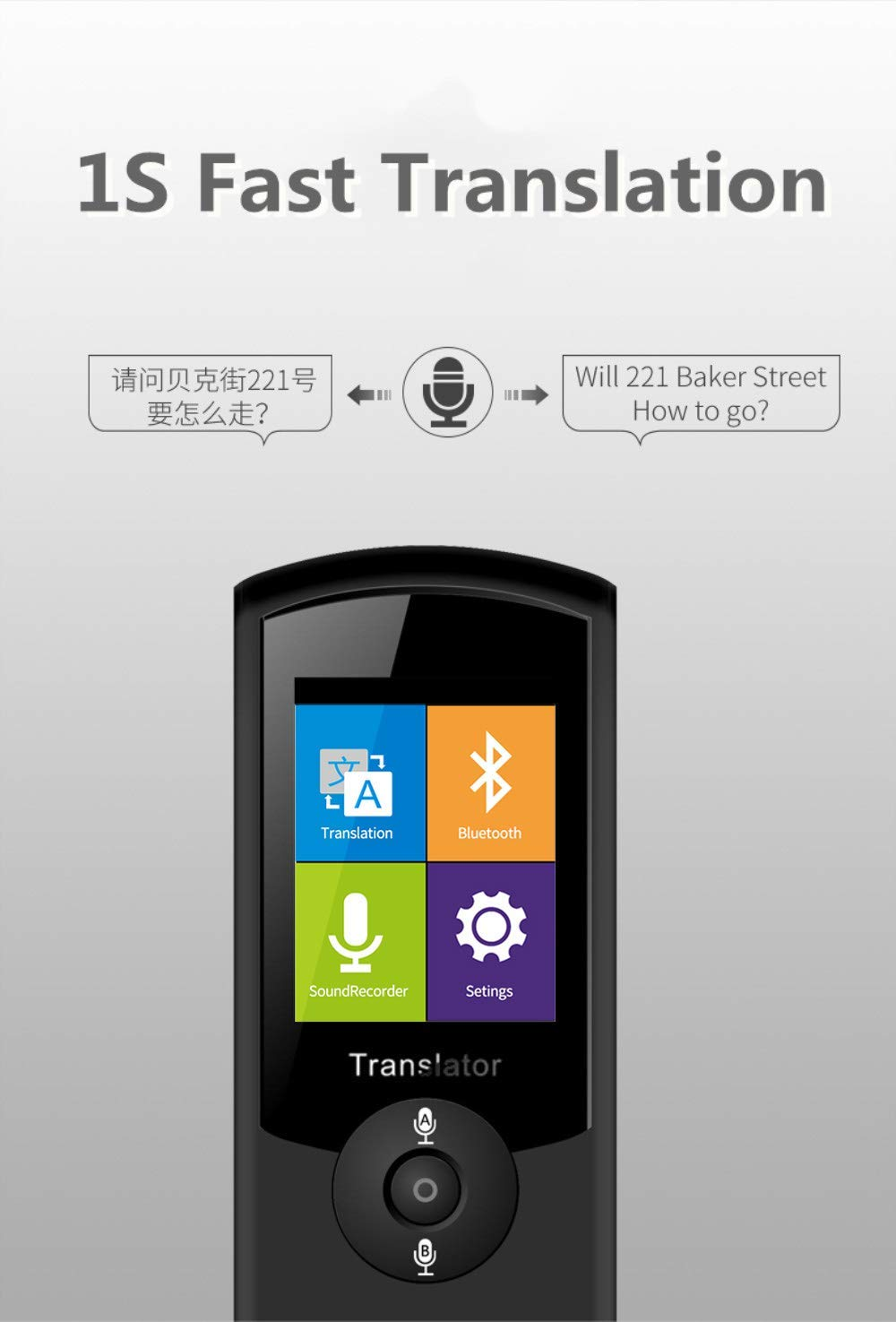 Smart Voice Translator Device with WiFi or 4G Touch Screen Support 41 Difference Foreign Languages Translated(Black) (Black) by Zuchini (Image #2)