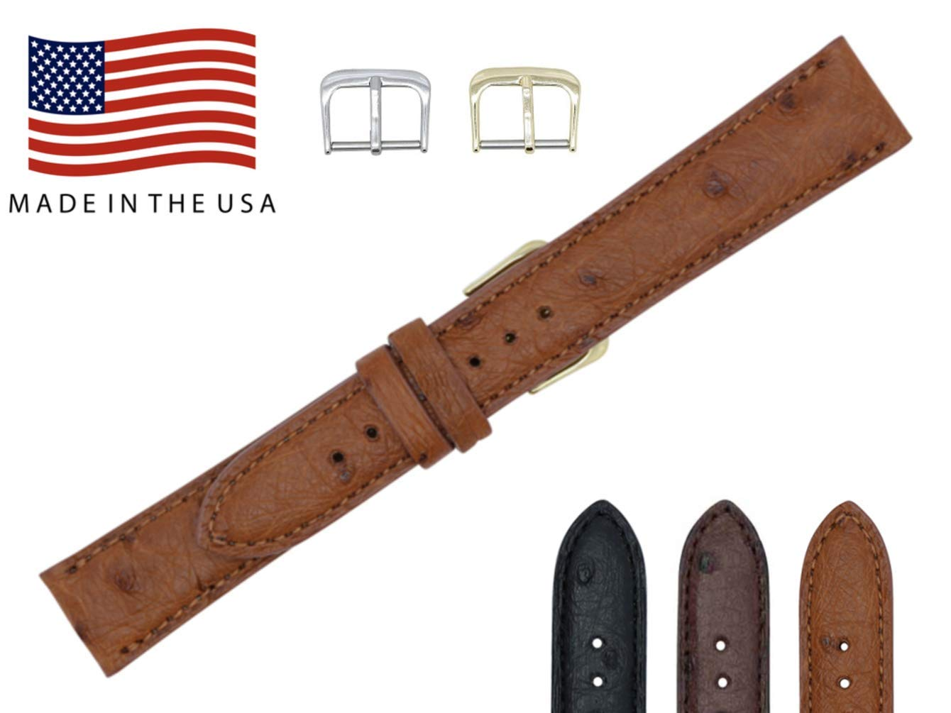 22mm Cognac Genuine Ostrich - Padded Stitched – Factory Direct - Replacement Watch Strap Band - Gold & Silver Buckles Included –Made in The USA by Real Leather Creations FBA143