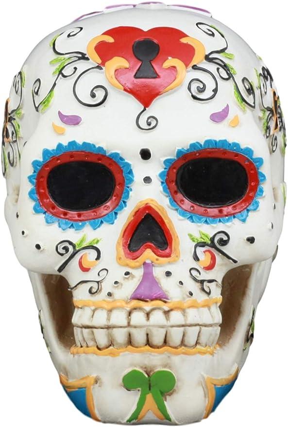 Gifts Decor Ebros White Floral Sunny Day Of The Dead Sugar Skull Statue Colorful Pastel Resin Figurine Skeleton Cranium Dia De Muertos Calacas As Gothic Display Model Sculpture Home Kitchen Amazon Com