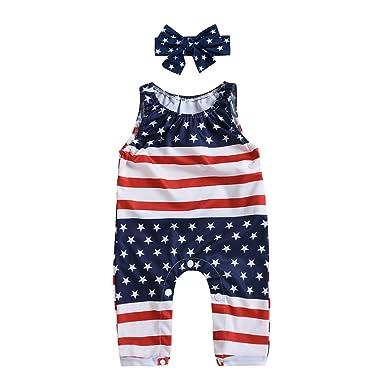 3cc53b2273c Mekilyn 2Pcs Baby Boy Girls Sleeveless Flag Romper Pant Kids One-Piece  Striped Jumpsuit Star