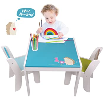 Amazon.com: Labebe Wooden Activity Table Chair Set, Blue Hedgehog ...