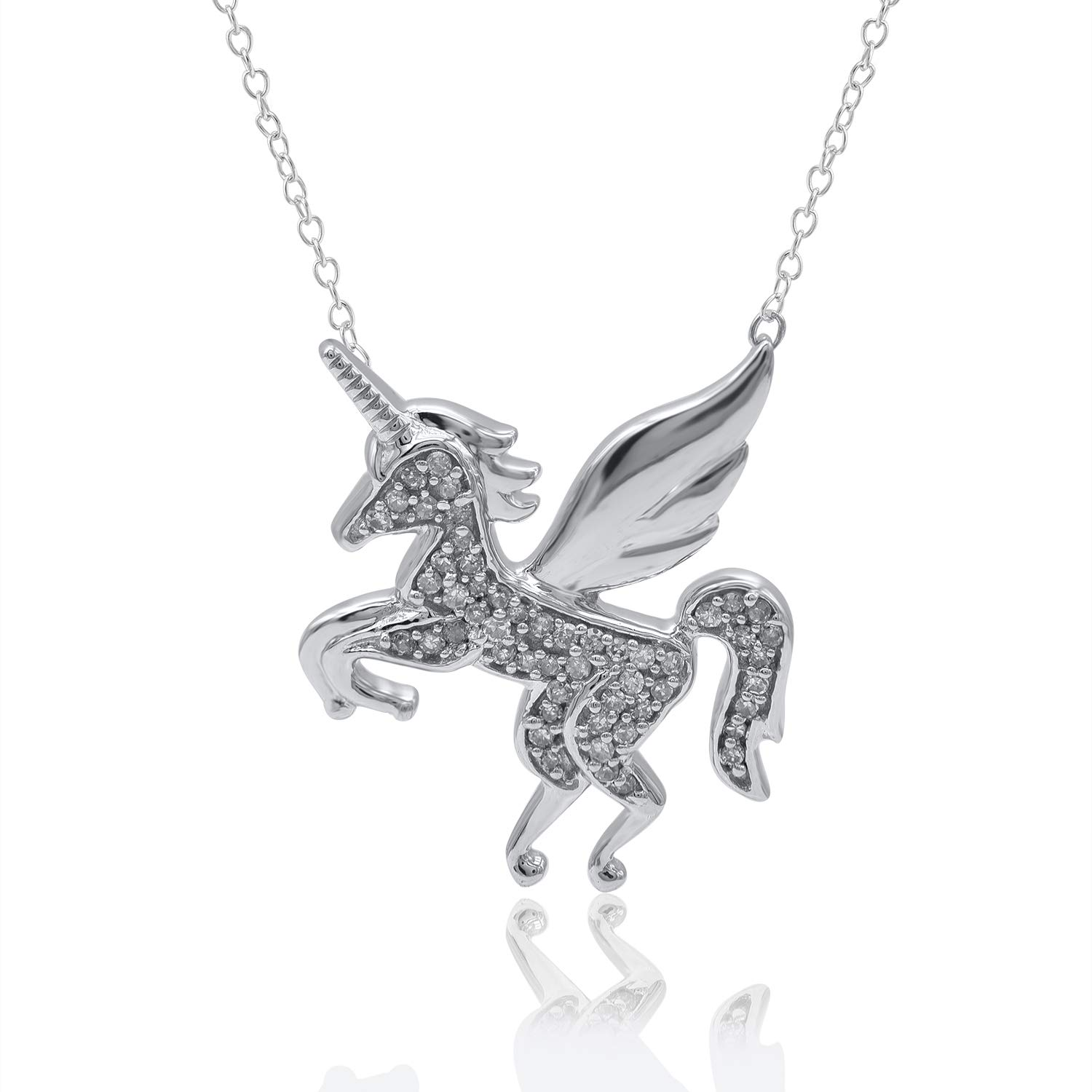 Mothers Day Gifts 1/10 Carat Unicorn Shaped Natural Diamond Pendant Necklace 10K White Gold (G-H Color, I3 Clarity) Diamond Pendant Necklace for Women Diamond Jewelry Gifts for Women