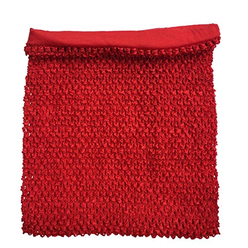 (Red Crochet Tutu Top Lined 12 Inches X 10 Inches Elastic Crochet Tube Top)
